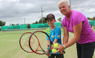 Beaudesert Tennis Coach Lisa Quast and HotShot