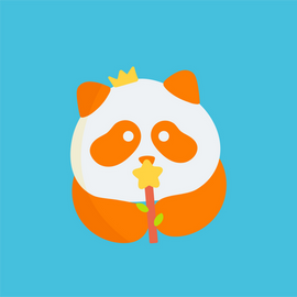 Colourful Panda wearing a crown and holding a wand