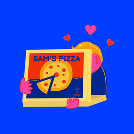 A fluorescent Sam eating pizza