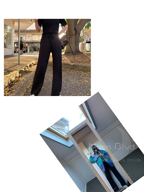冰丝阔腿高腰休闲裤 Designer High Waist Pants