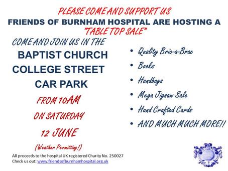 Friends of Burnham Hospital announce A Table Top Sale!