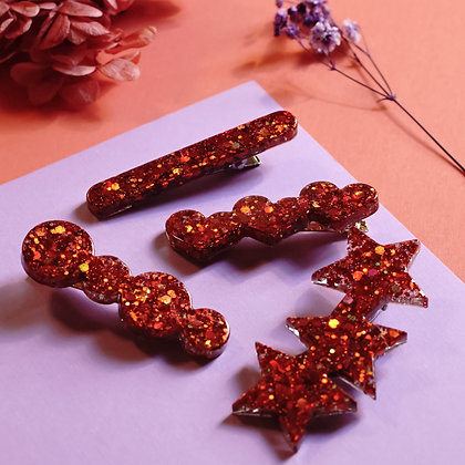 Copper Flaked Resin Barrette