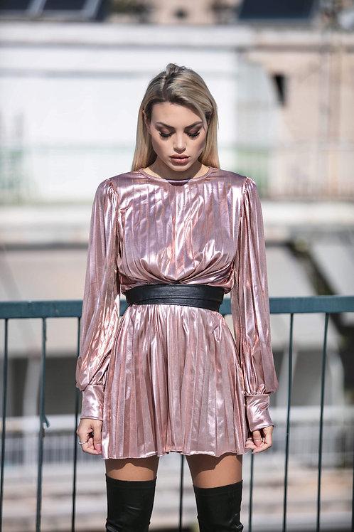 Μεταλλιζέ ντραπέ φόρεμα