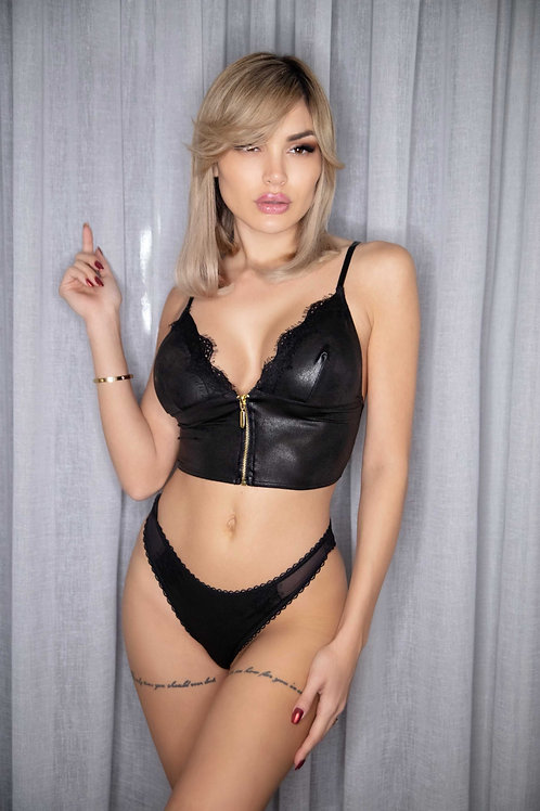 Leather lingerie set