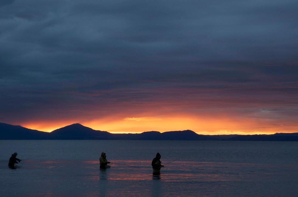 Fishing the Waitahanui stream mouth on dusk