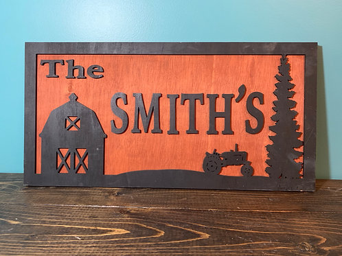 Tractor and Barn Name Sign