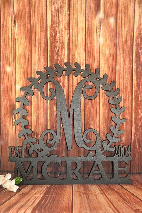 Round Leaf Established Name Sign