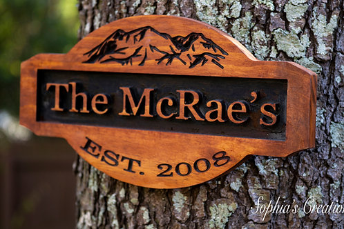 Custom Made Engraved Mountain Family Sign