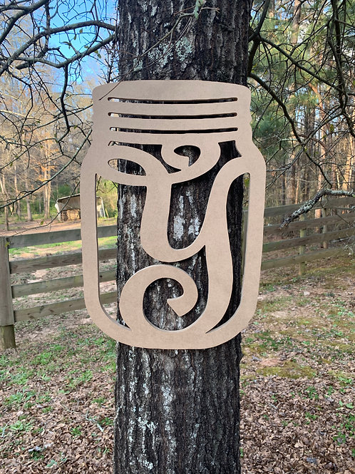 Mason Jar Initial sign