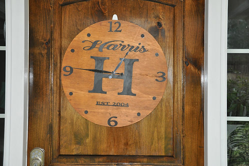 Family Name Wooden Clock