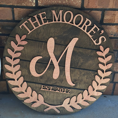 Round Wooden Olive Branch Name Sign
