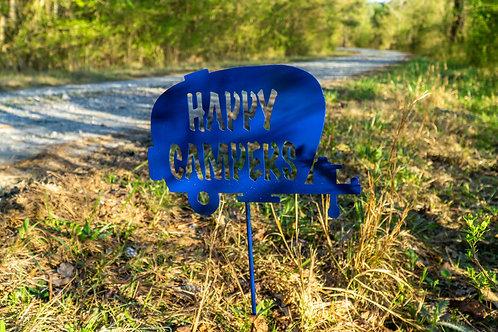 Steel Happy Camper Yard Steak Sign
