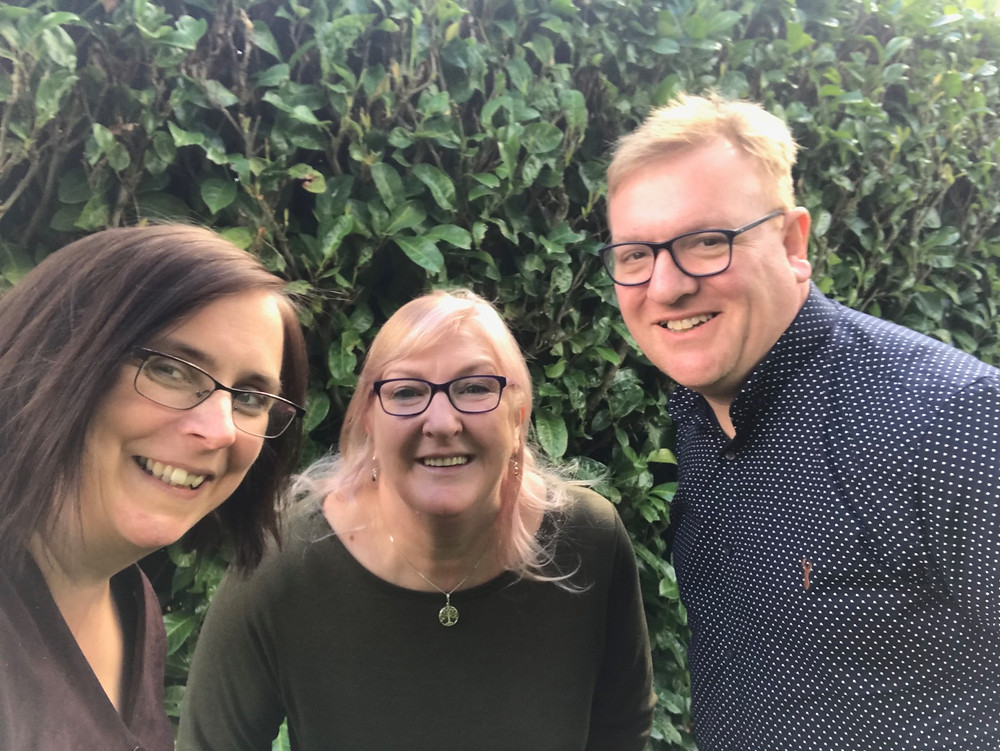 Hobeck directors Rebecca Collins and Adrian Hobart with Hobeck author AB Morgan at her home in Bedfordshire