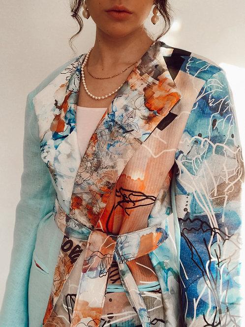 Bespoke Printed Blazer and Belt
