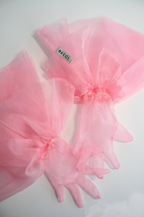 Organza Pink Frill Gloves