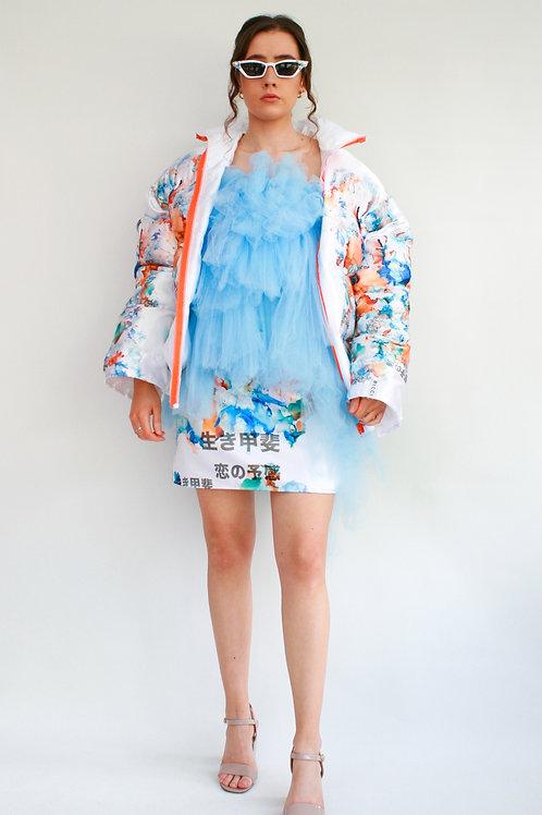 Printed Satin Puffa Jacket
