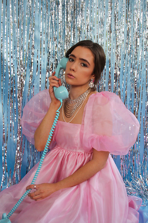Pink Puff Sleeve Satin Dress