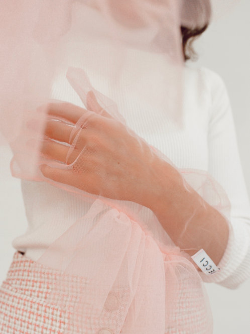 Pink Tulle Gloves