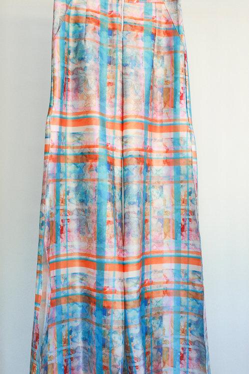 Printed Satin Side Split Trousers