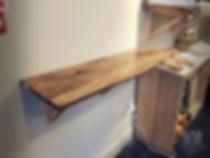 Wooden shelf in bakery