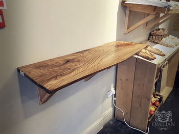 Wooden shelf in bakery