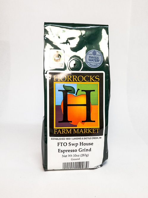Fair Trade Organic SWP Decaf House Espresso Grind Ground 10oz