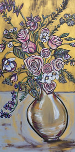 Gold Vase With Pink Roses and White Flowers