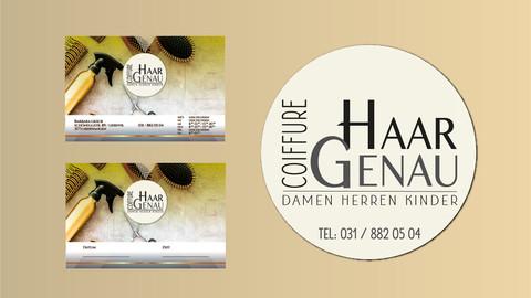 Visitenkarten und Logo Coiffure Haargenau