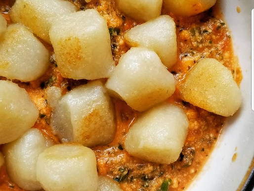 Cauliflower Gnocchi and Creamy Red Sauce