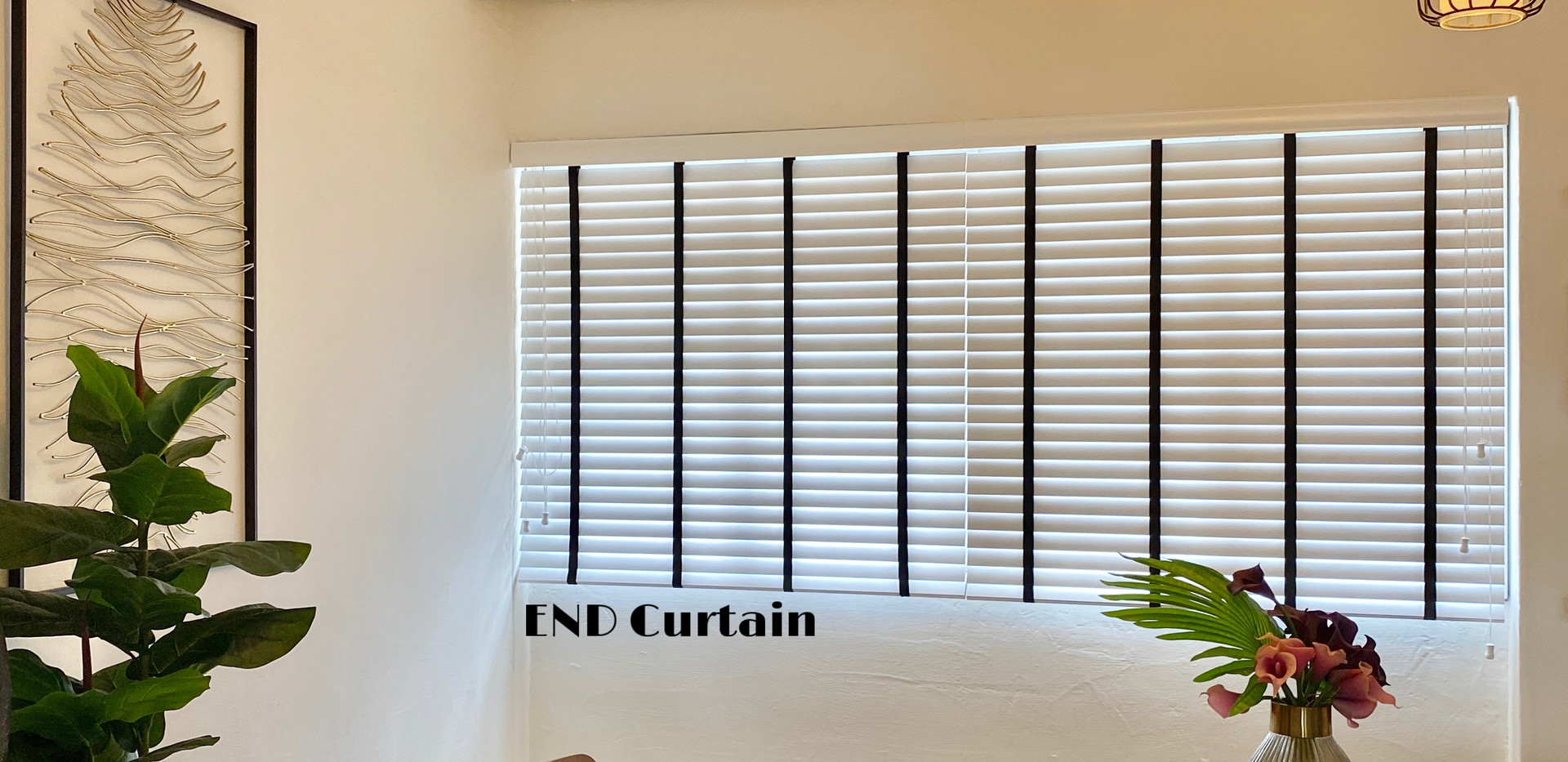 White Venetian Blinds with Black Tape - END CURTAIN Singapore