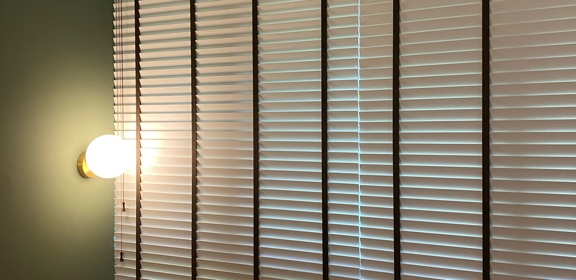 White Venetian Blinds with Brown Tape - END CURTAIN Singapore