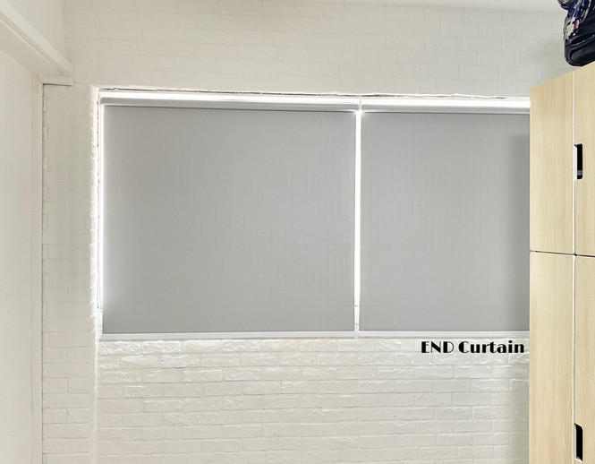 Grey Striped Black Out Roller Blinds - END CURTAIN Singapore