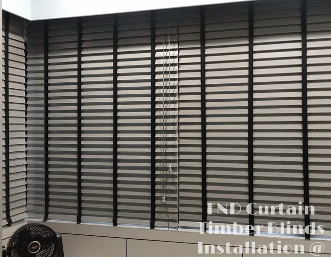 Grey Venetian Blinds with Black Tape - END CURTAIN Singapore