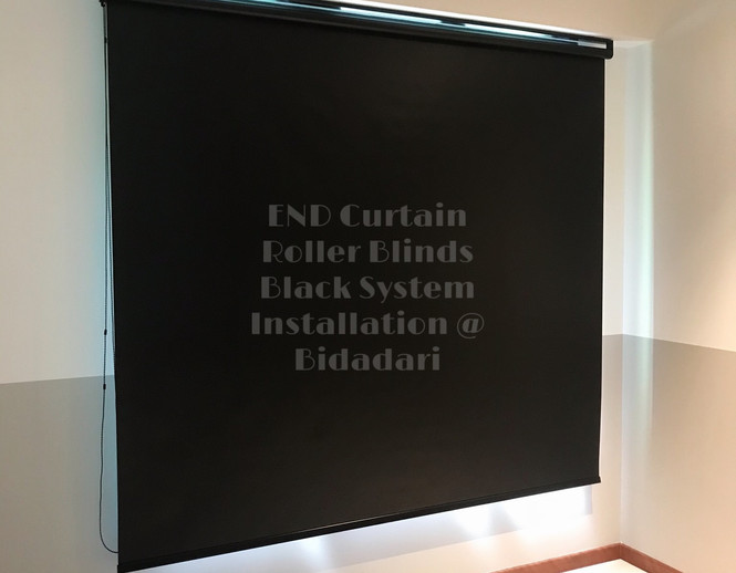 Black Out Roller Blinds with Black System - END CURTAIN Singapore