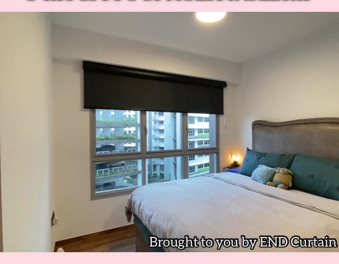 Rechargeable Motorized Black Out Roller Blinds with Pelmet and Black System - END CURTAIN Singapore