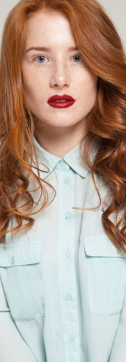 Model in Mint Button Up Shirt