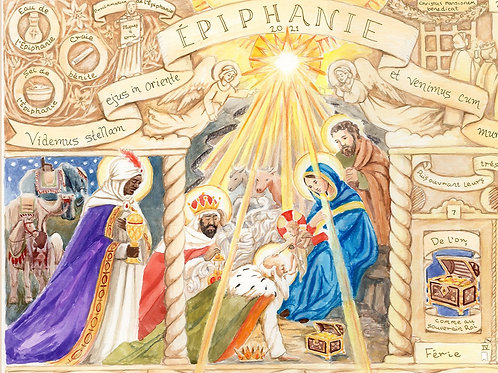 French Illustrated Epiphany Calendar 2021 (2 parts)