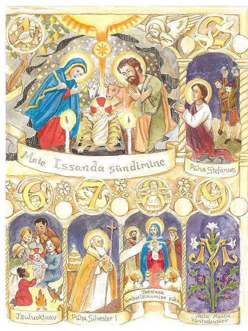 Estonian & English Christmas Pictorial Calendar 2020