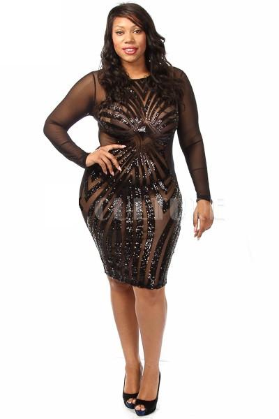 Culture Plus Size Front Mesh Sequin Long Sleeve Bodycon Dress ...