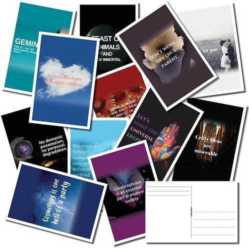 Nonspirational Postcard Bulk Pack of 25 – Uninspired, Wacky, Crude and Rude Post
