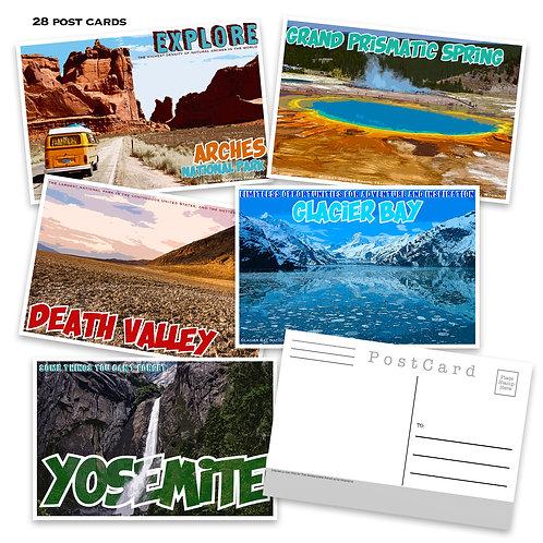 National Park Post Card Set - Set of 28 Postcards - Travel - Adventure - Nature