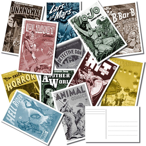 Pack of 25 Postcards- Vintage Comic Book Covers  - Horror - Science Fiction -