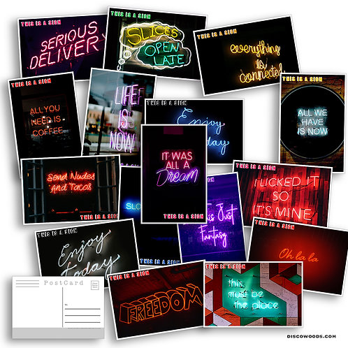 Neon Postcard Set - 20 This is a sign neon Postcards - Psychedelic - Scrapbook