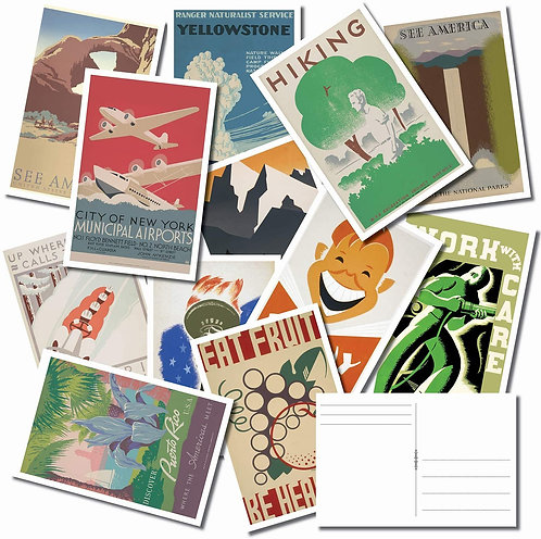 Vintage WPA Tourist and Recreational Postcard Bulk Pack of 25 – National Parks -