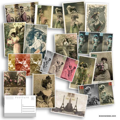 Vintage French Postcard Set - Set of 16 Postcards - Vintage - french - Scrapbook