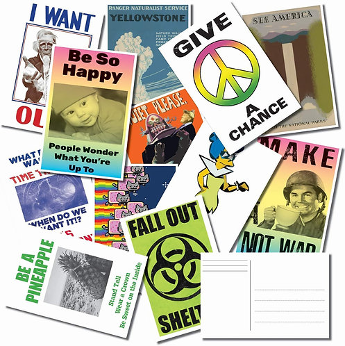 Postcard Bulk Pack Of 25 Featuring Artists - Cool Memes - Illustrations
