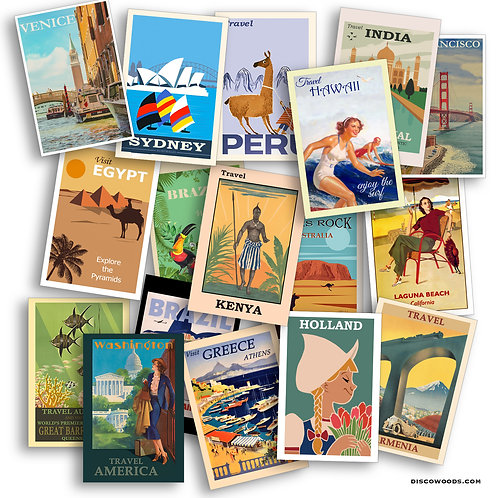 World Travel Postcard Set - 25 Postcards - Vintage - Nature - Scrapbook