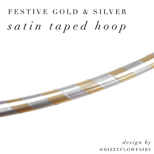 Festive Gold & Silver Satin Taped Hula Hoop