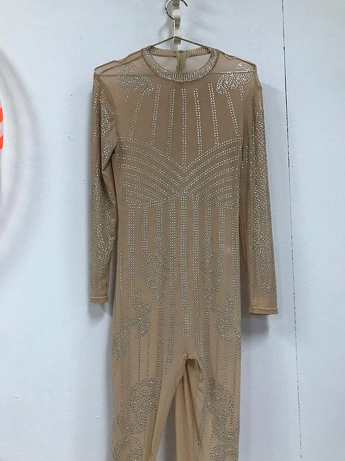Mesh nude bodysuit w/ silver rhinestones (M/L)
