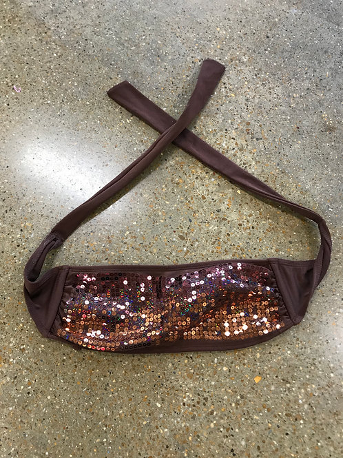 Brown sequin tie-up bandeau (S)